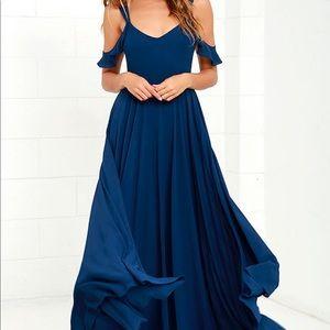 Lulu's Romantic Fantasy Navy Blue Maxi Dress